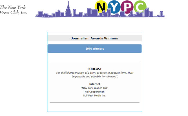 New York Launch Pod Wins 2016 New York Press Club Award For Best Podcast!